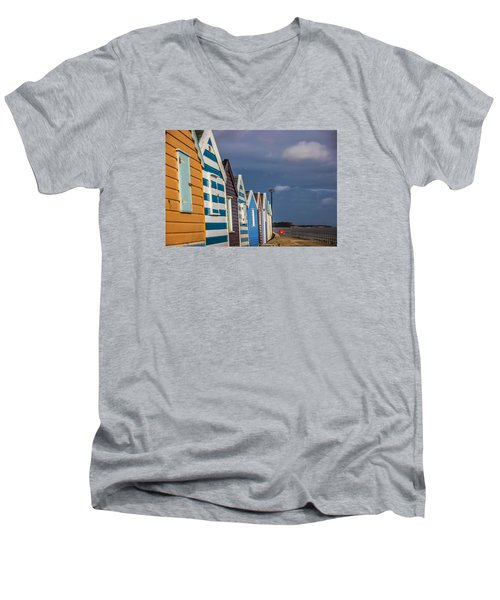 Beach Huts Men's V-Neck T-Shirt by David Warrington