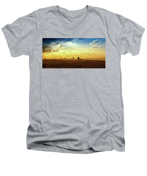 Beach Pier Men's V-Neck T-Shirt by Joseph Hollingsworth