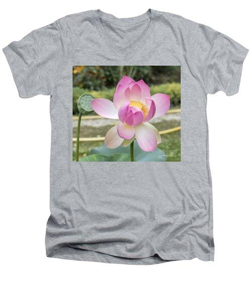 Beautiful Indian Lotus Men's V-Neck T-Shirt