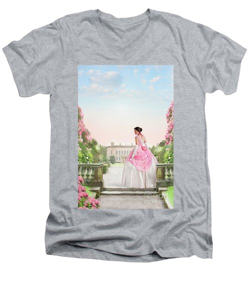 Beautiful Victorian Woman In The Garden Men's V-Neck T-Shirt