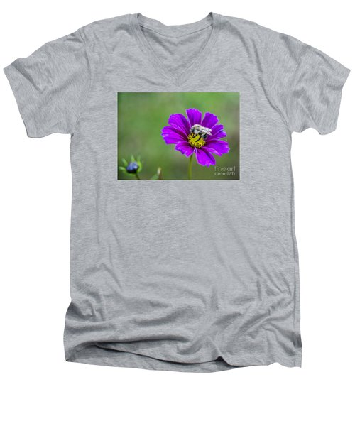 Men's V-Neck T-Shirt featuring the photograph Bee by Alana Ranney