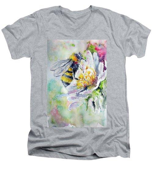 Bee On Flower Men's V-Neck T-Shirt by Kovacs Anna Brigitta