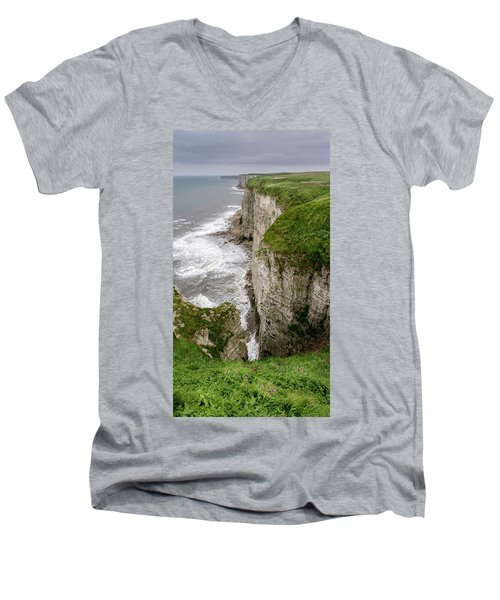 Bempton Cliffs Men's V-Neck T-Shirt by Nigel Wooding