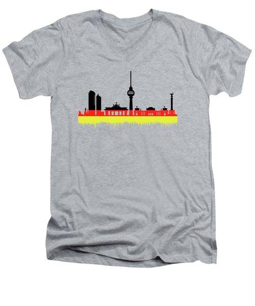 Berlin Skyline Men's V-Neck T-Shirt by Solomon Barroa