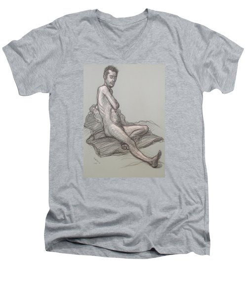 Men's V-Neck T-Shirt featuring the drawing Bert Seated by Donelli  DiMaria