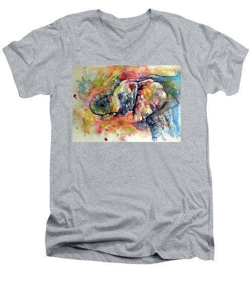 Big Colorful Elephant Men's V-Neck T-Shirt