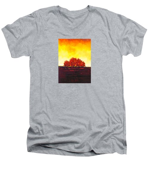 Men's V-Neck T-Shirt featuring the painting Big Red by William Renzulli