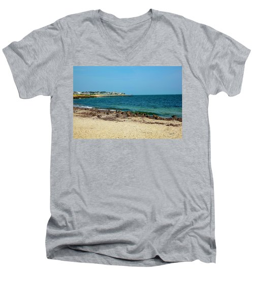 Men's V-Neck T-Shirt featuring the photograph Birds On The Beach by Madeline Ellis