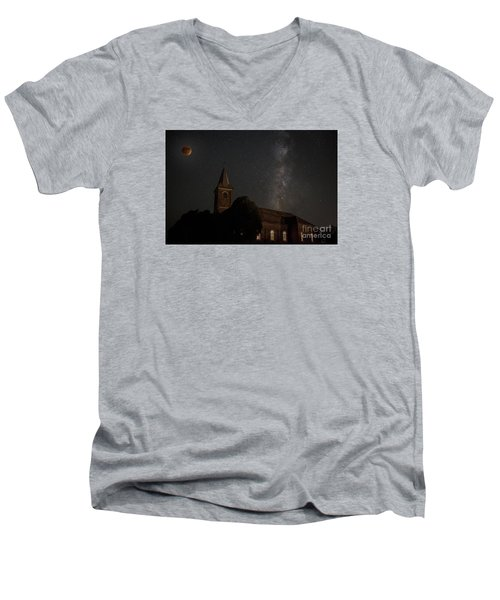 Blood Moon Over St. Johns Church Men's V-Neck T-Shirt by Keith Kapple