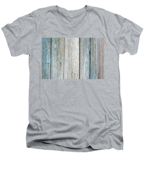 Men's V-Neck T-Shirt featuring the photograph Blue Fading Paint On Wood by John Williams