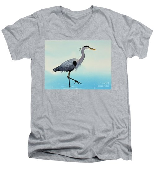 Men's V-Neck T-Shirt featuring the painting Blue Water Heron by James Williamson
