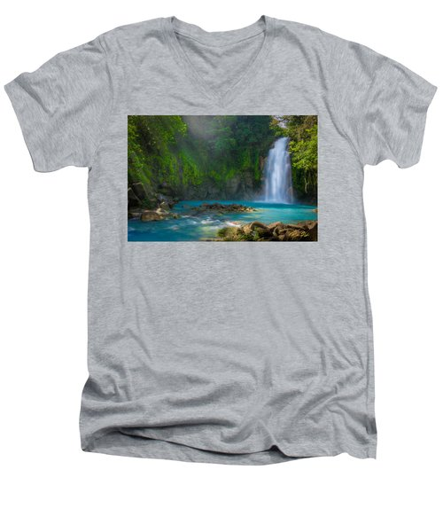 Blue Waterfall Men's V-Neck T-Shirt