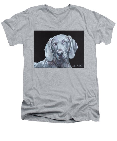 Blue Weimaraner Men's V-Neck T-Shirt