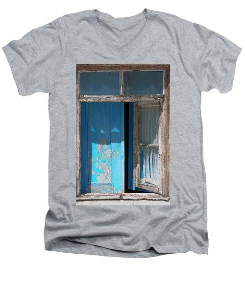 Blue Window Men's V-Neck T-Shirt by Edgar Laureano