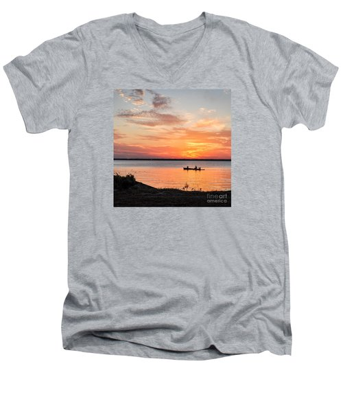 Boating Sunset Men's V-Neck T-Shirt by Cheryl McClure