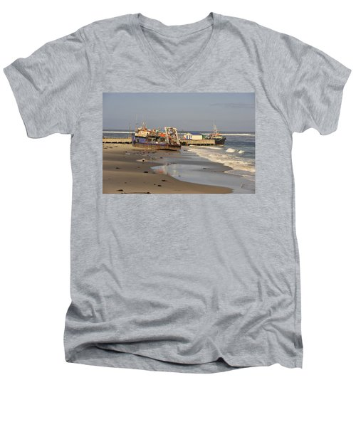 Boats Aground Men's V-Neck T-Shirt by Patrick Kain
