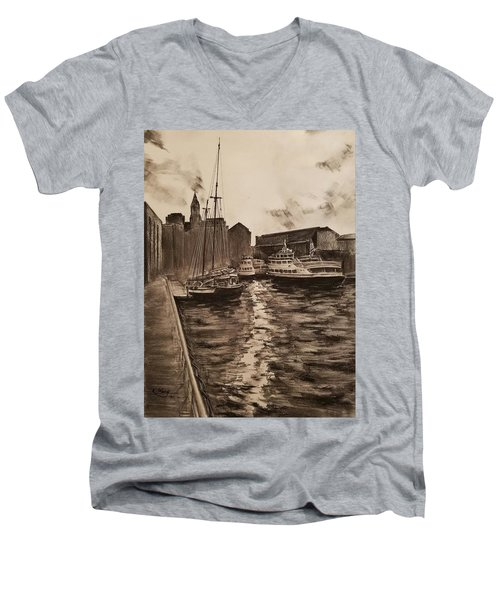 Men's V-Neck T-Shirt featuring the drawing Boston Harbor by Rose Wang