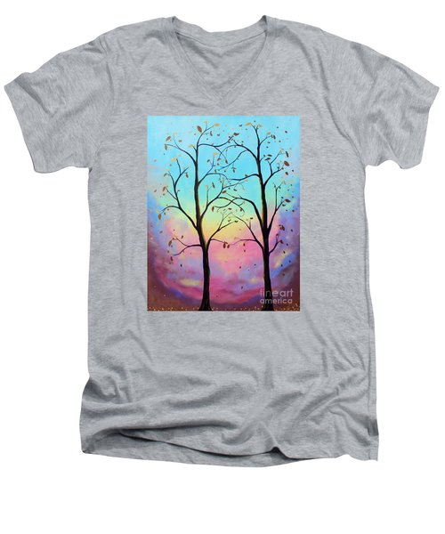 Men's V-Neck T-Shirt featuring the painting Branching Out by Stacey Zimmerman