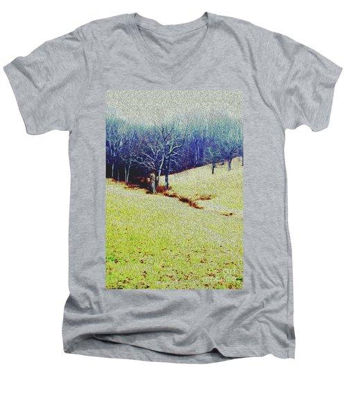 Brandywine Landscape Men's V-Neck T-Shirt by Sandy Moulder