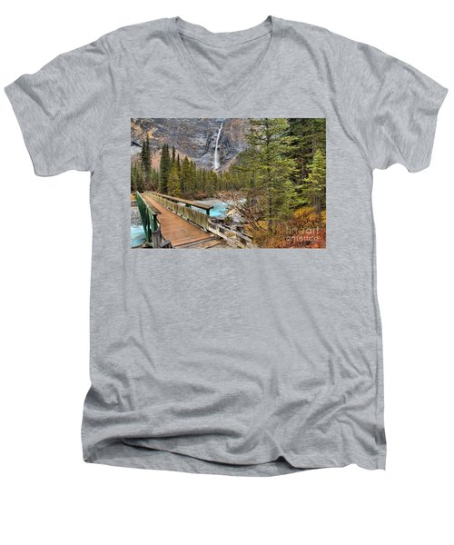 Men's V-Neck T-Shirt featuring the photograph Wooden Bridge To Takakkaw Falls by Adam Jewell