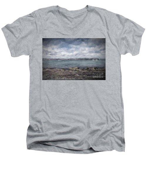 Men's V-Neck T-Shirt featuring the photograph Brixham Harbour by Patricia Hofmeester