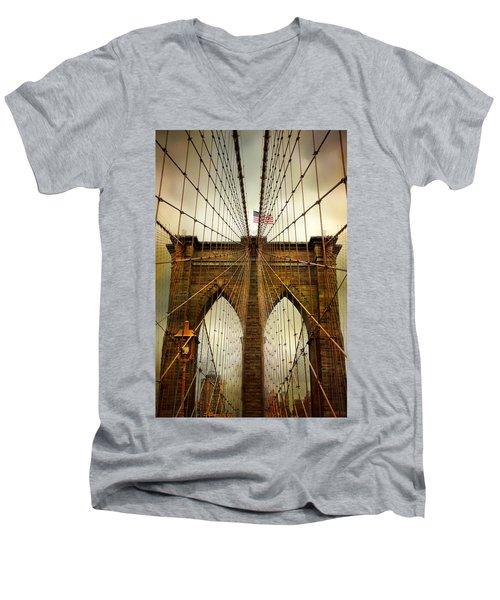 Brooklyn Bridge Twilight Men's V-Neck T-Shirt