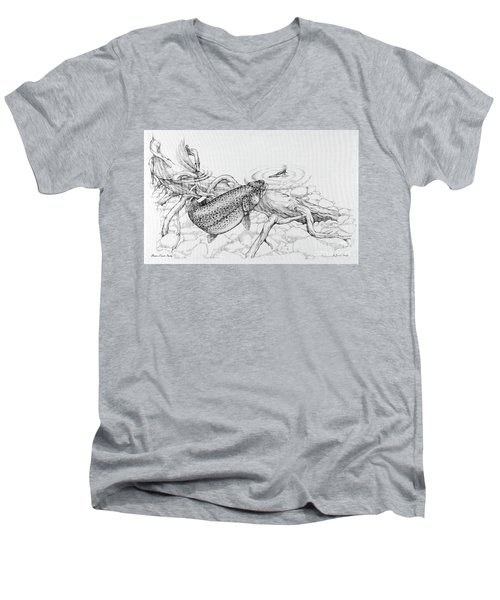 Brown Trout Pencil Study Men's V-Neck T-Shirt
