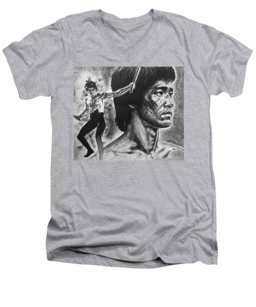 Bruce Lee Men's V-Neck T-Shirt by Darryl Matthews