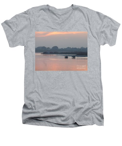 Buffalos Crossing The Yamuna River Men's V-Neck T-Shirt