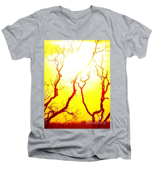 Men's V-Neck T-Shirt featuring the photograph Burning Sunset by Justin Moore