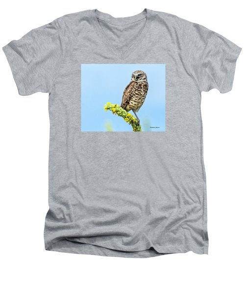 Men's V-Neck T-Shirt featuring the photograph Burrowing Owl On Mullein Plant by Stephen  Johnson