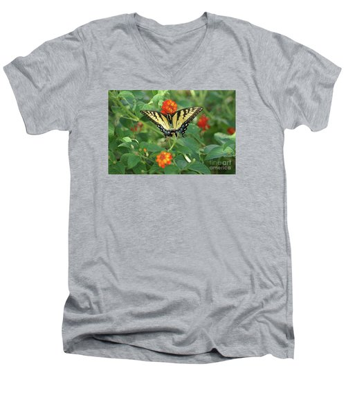 Butterfly And Flower Men's V-Neck T-Shirt by Debra Crank