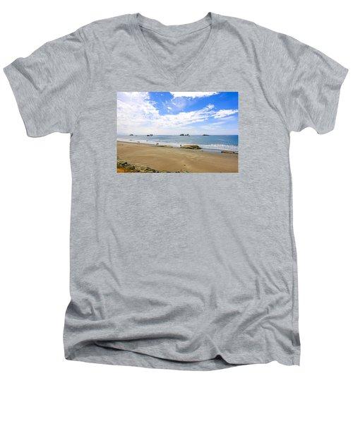 California Coastline Men's V-Neck T-Shirt by Chris Smith
