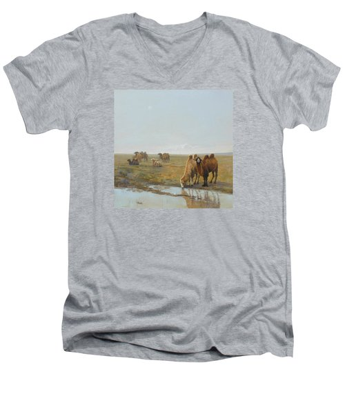 Camels Along The River Men's V-Neck T-Shirt
