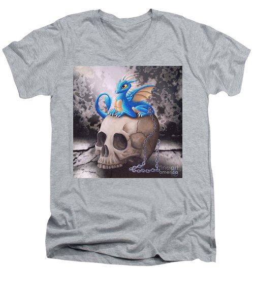 Captive Dragon On An Old Skull Men's V-Neck T-Shirt