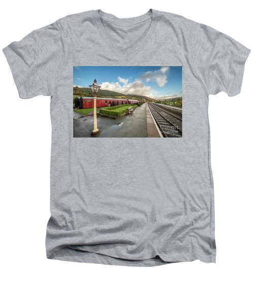 Men's V-Neck T-Shirt featuring the photograph Carrog Railway Station by Adrian Evans