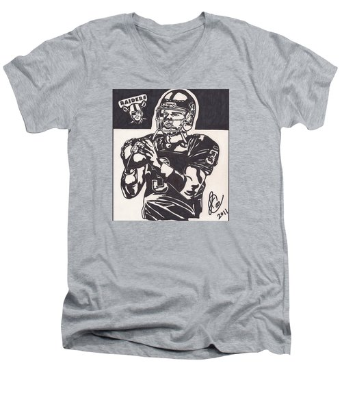 Men's V-Neck T-Shirt featuring the drawing Carson Palmer 1 by Jeremiah Colley