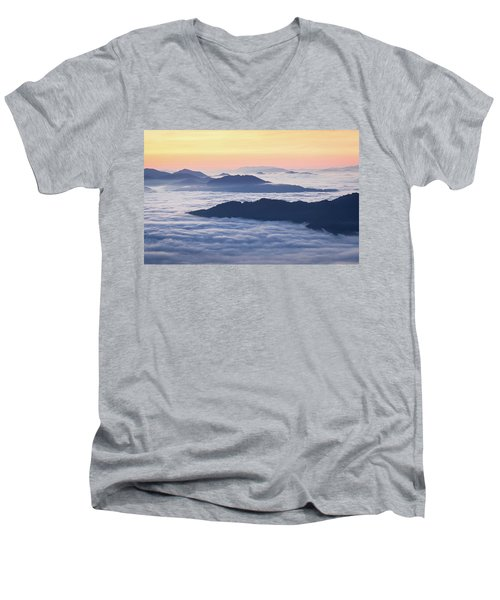 Cataloochee Valley Sunrise Men's V-Neck T-Shirt by Serge Skiba