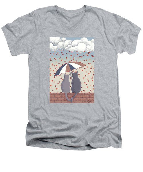 Cats In Love Men's V-Neck T-Shirt by Anne Gifford