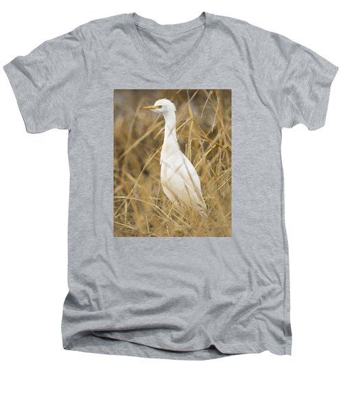 Men's V-Neck T-Shirt featuring the photograph Cattle Egret by Doug Herr