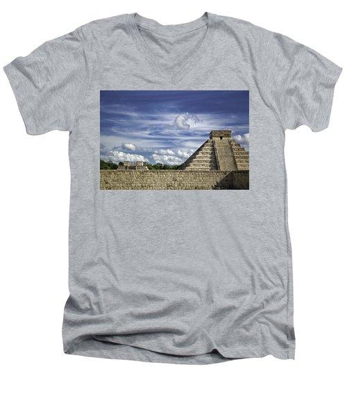 Chichen Itza, El Castillo Pyramid Men's V-Neck T-Shirt by Jason Moynihan