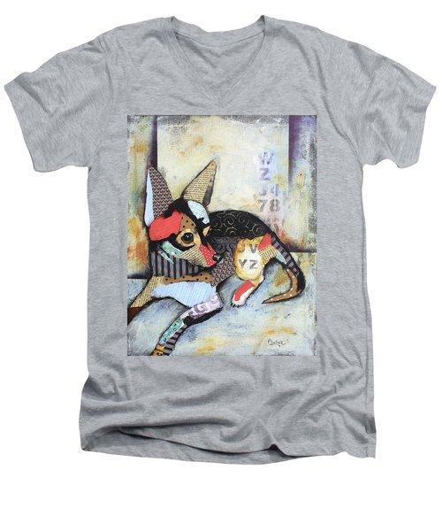 Chihuahua Men's V-Neck T-Shirt by Patricia Lintner