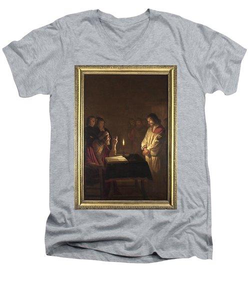 Christ Before The High Priest Men's V-Neck T-Shirt by Gerrit van Honthorst