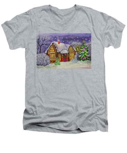 Christmas House, Painting Men's V-Neck T-Shirt