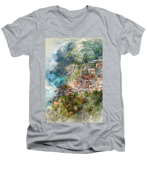 Cinque Terre In Italy Men's V-Neck T-Shirt
