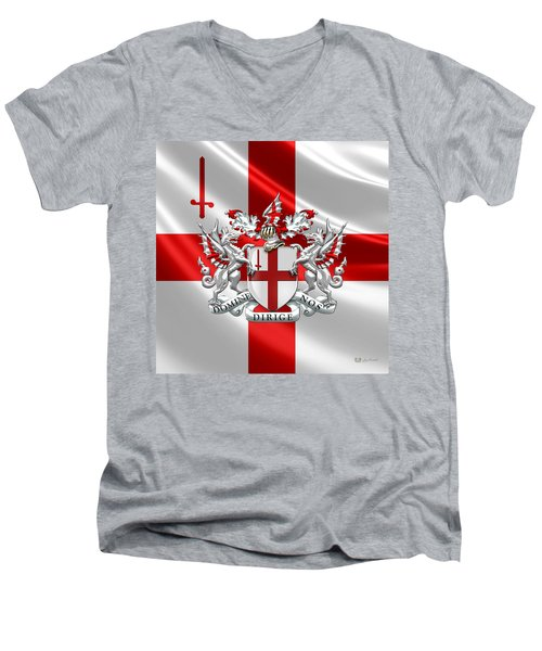 City Of London - Coat Of Arms Over Flag  Men's V-Neck T-Shirt by Serge Averbukh