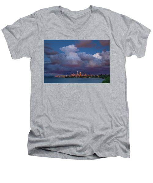 Men's V-Neck T-Shirt featuring the photograph Cleveland Skyline  by Emmanuel Panagiotakis