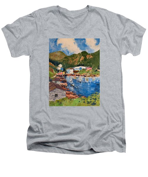 Coastal Village, Newfoundland Men's V-Neck T-Shirt by David Gilmore