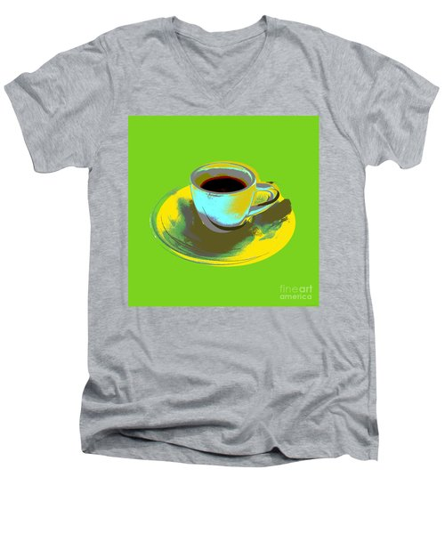 Men's V-Neck T-Shirt featuring the digital art Coffee Cup Pop Art by Jean luc Comperat