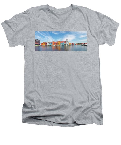 Colorful Buildings Men's V-Neck T-Shirt by Hans Engbers